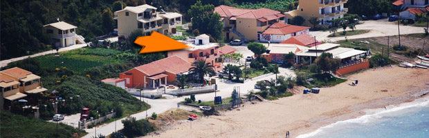 Location of Corfu accommodation in beach house Houmis